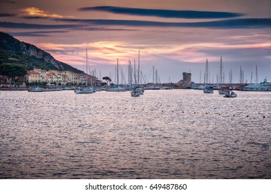 Italy view of elba island at sunset