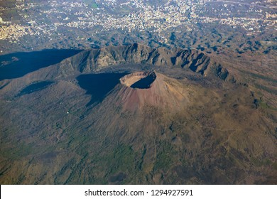 Italy volcano Vesuvius seen from above. Mount Vesuvius is a somma-stratovolcano located on the Gulf of Naples in Campania, Italy.