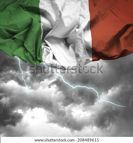 Italy Waving Flag On Bad Day Stock Photo (Edit Now