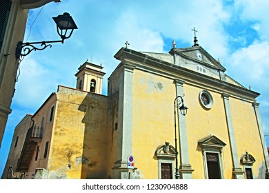 Italy-A view of the church in the town Rio Nell´elba on the island of Elba