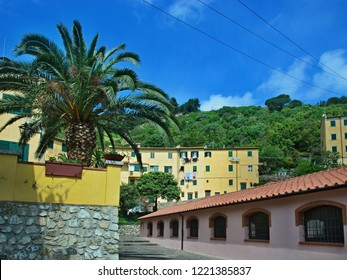 Italy-a view of the historic laundry in town Rio Nell´elba on the island of Elba