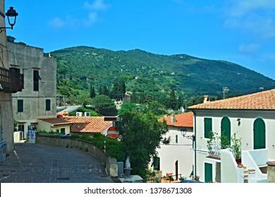 Italy-A view from terrace in town Rio Nell´elba of town Rio Marina on the island of Elba