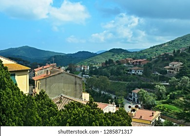 Italy-A view from the town Rio Nell´elba on the island of Elba