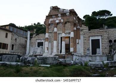 ITALY,BRESCIA: the ruin of the Brescia Capitolium,Capitolum of Brixia, a temple dedicated to the worship of the Capitoline Triad -Jupiter,Juno and Minerva. Brixia Parci Archeologico di Brescia Romana.