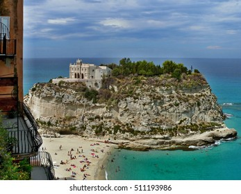 Italy,Calabria-view to Tropea beach and church