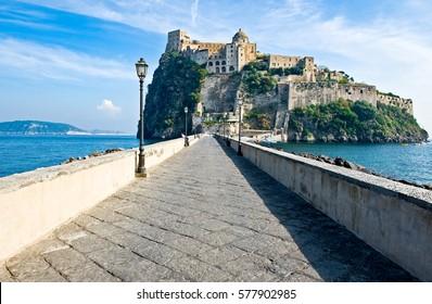 Italy,Ischia, Ischia Ponte, view of the Aragonese Castle