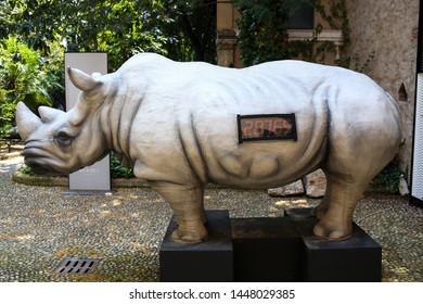 Italy,Lombardy,Brescia-26 June 2019: Animals countdown, the sculptor Stefano BOMBARDIERI's exhibition in the garden of the Martinengo Palace depicts endangered species of animals,white rhino sculpture