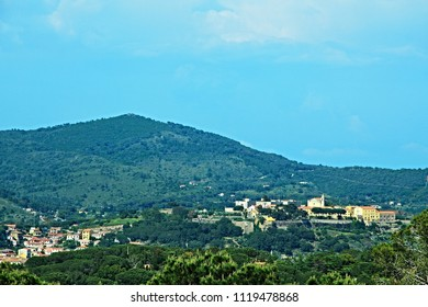 Italy-outlook from town Capoliveri on the town Porto Azzurro on the island of Elba