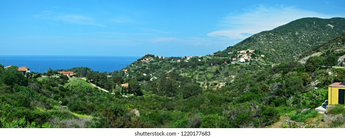 Italy-panoramic view from Colle D´orano on the island of Elba