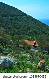 Italy-view on house in village Colle D´orano on the island of Elba