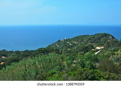 Italy-view on lighthouse near village Colle D´orano on the island of Elba