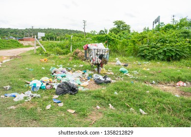 Itamaraca Island, Brazil - Circa March 2019: Pile of litter in the countryside - The island has a very serious problem with rubbish disposal and trash management