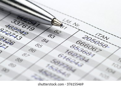 iTAN list for online banking