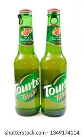 Itancourt, France-03/02/2019-bottle of Tourtel Twist, non-alcoholic beer