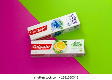 Itancourt-France-le 01/11/2019-box of Colgate toothpaste