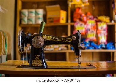 Itaogbolu, Akure Nigeria, December 27 2017: Sewing machine inside a local grocery shop in Itaogbolu,Akure Nigeria