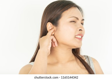 Itching in the ear and woman