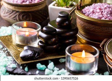 items and accessories for a spa massage in the composition on the table