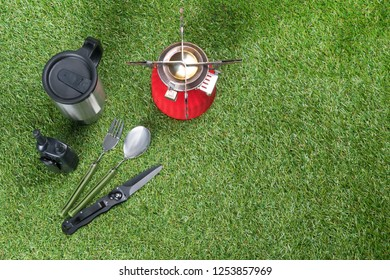 items for cooking outdoors during extreme vacation, top view