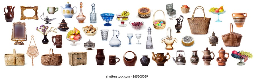 Items dish on a white background