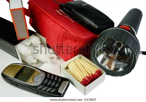 Items Emergency Power Outage Kit Mobile Stock Photo (Edit