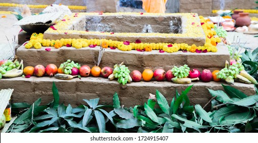 items for the Indian Yajna ritual. Indian Vedic fire ceremony called Pooja. A ritual rite, for many religious and cultural holidays and events in the Indian tradition. Hindu wedding vivah Yagya - Shutterstock ID 1724915407