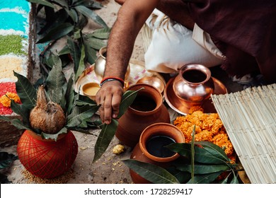 items for the Indian Yajna ritual. Indian Vedic fire ceremony called Pooja. A ritual rite, for many religious and cultural holidays and events in the Indian tradition. Hindu Yagya - Shutterstock ID 1728259417