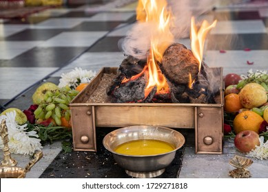 items for the Indian Yajna ritual. Indian Vedic fire ceremony called Pooja. A ritual rite, for many religious and cultural holidays and events in the Indian tradition. Hindu wedding vivah Yagya