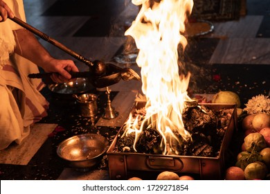 items for the Indian Yajna ritual. Indian Vedic fire ceremony called Pooja. A ritual rite, for many religious and cultural holidays and events in the Indian tradition. Hindu wedding vivah Yagya - Shutterstock ID 1729271854