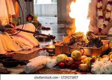 items for the Indian Yajna ritual. Indian Vedic fire ceremony called Pooja. A ritual rite, for many religious and cultural holidays and events in the Indian tradition. Hindu wedding vivah Yagya - Shutterstock ID 1729271857