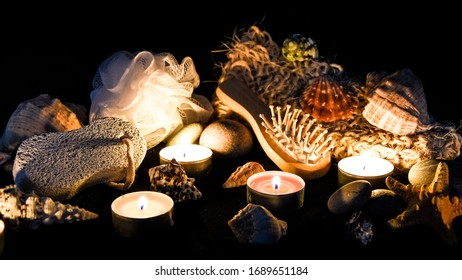 Items for spa, Eco concept, zero waste, organic products, Natural brushes made of wood , stones, candles , Composition of spa treatment, selective focus