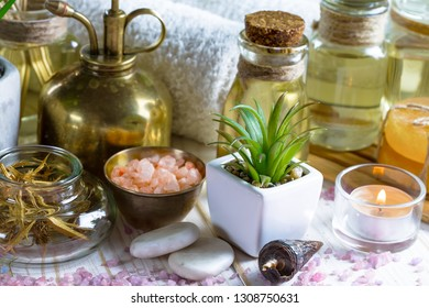 Items for spa massage in the composition on the table