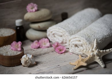 Items for spa, towels and candles