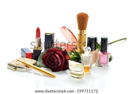 Items woman are used makeup and cosmetics and roses