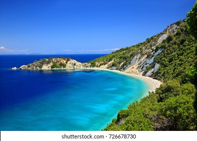 "ITHACA ISLAND, GREECE. Gidaki beach, the most beautiful beach of Ithaca (""Ithaki"") island, Ulysses' ""homeland"", Ionian Sea, Greece"