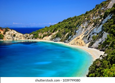 ITHACA ISLAND, IONIAN SEA, GREECE. Gidaki beach, the most beautiful beach the island.