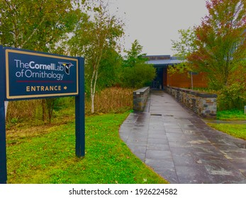 ITHACA, NEW YORK - SEPT 26 2018: Entrance to the Cornell Lab of Ornithology, a member-supported unit of Cornell University which studies birds and other wildlife.