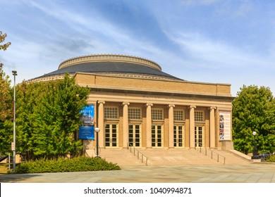 ITHACA, NY/USA - SEPTEMBER 1, 2017: Bailey Hall Building of Cornell University