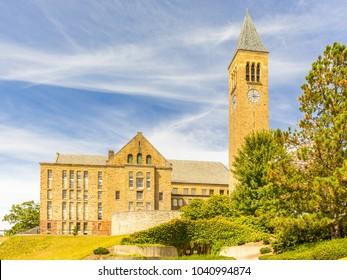 ITHACA, NY/USA - SEPTEMBER 1, 2017: Clock Tower of Cornell University