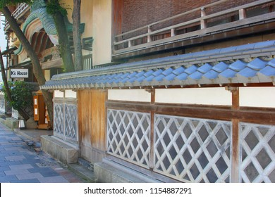ITO, IZU PENINSULA, JAPAN - June 12, 2018. Decorations of historic wooden Tokaikan building, former Ryokan with Onsen hot springs and built in 1928, next to K's house hostel in old town street.