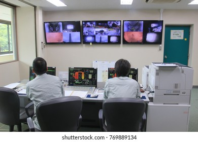 Ito, Shizuoka/Japan-Aug.3.2017:The monitor control center room for operation in a waste incineration facility.