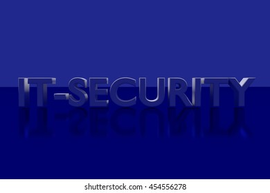 """""""IT-SECURITY"""" in 3D-Letters on a blue glossy plane"""