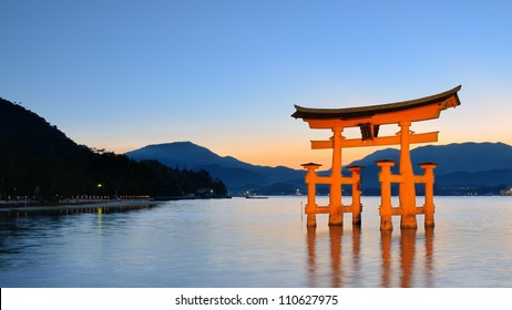 The Itsukushima floating Torii Gate off the coast of the island of Miyajima, Hiroshima, Japan.