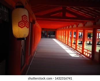Itsukushima Island, Japan, April 3, 2019. Pathway in Itsukushima Shrine at Itsukushima Island, Japan