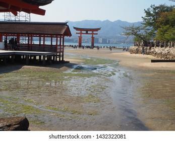 Itsukushima Island, Japan, April 3, 2019. View at Itsukushima Shrine, Itsukushima Island, Japan