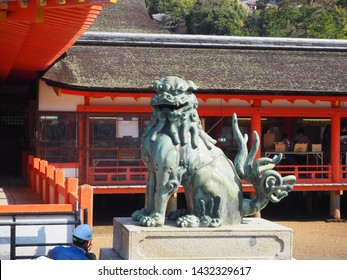 Itsukushima Island, Japan, April 3, 2019. Guardian Lion Statue at Itsukushima Shrine, Itsukushima Island, Japan