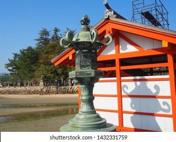 Itsukushima Island, Japan, April 3, 2019. Lantern at Itsukushima Shrine, Itsukushima Island, Japan