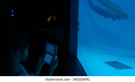 ITSUKUSHIMA (MIYAJIMA),  HIROSHIMA PREFECTURE, JAPAN - JUNE 15, 2014:  Girl taking picture with a Nintendo 3DS device in a low light room at Miyajima Public Aquarium.