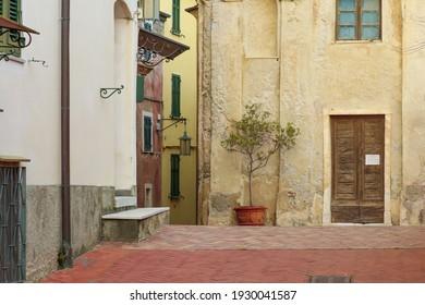 ittle square in front of San Giorgio church, in the ancient village Tellaro.