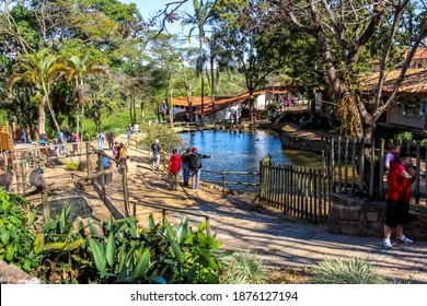 Itu São Paulo Brazil - August 23 2020: Tourists with masks enjoying Sunday afternoon around nature at the chocolate farm (Fazenda do Chocolate) in the city of Itu Brazil